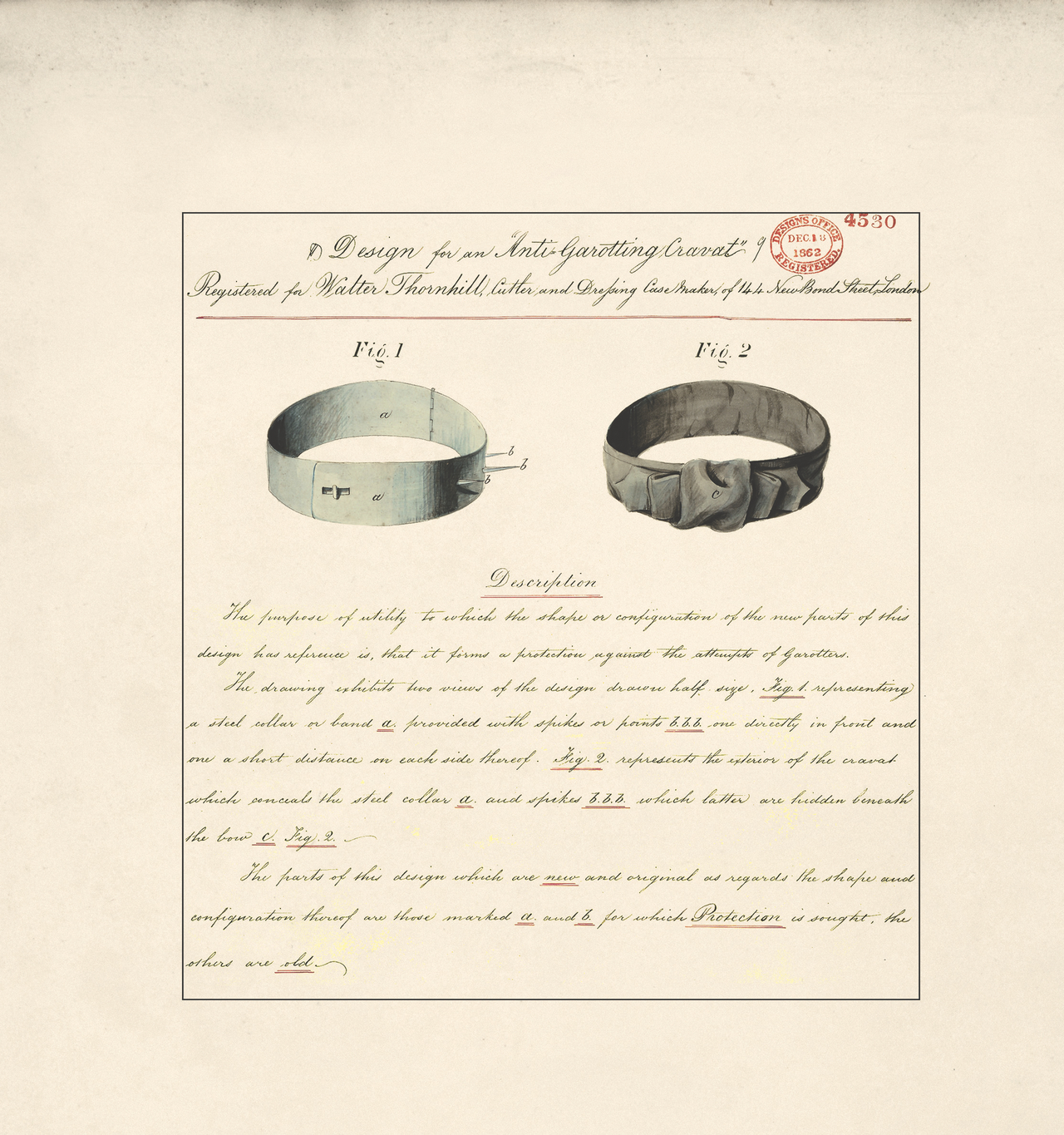"""Design for an """"Anti-Garotting Cravat"""" by Walter Thornhill, 1862 (BT 45/23) (The National Archives, London, England 2014. © 2014 Crown Copyright)"""