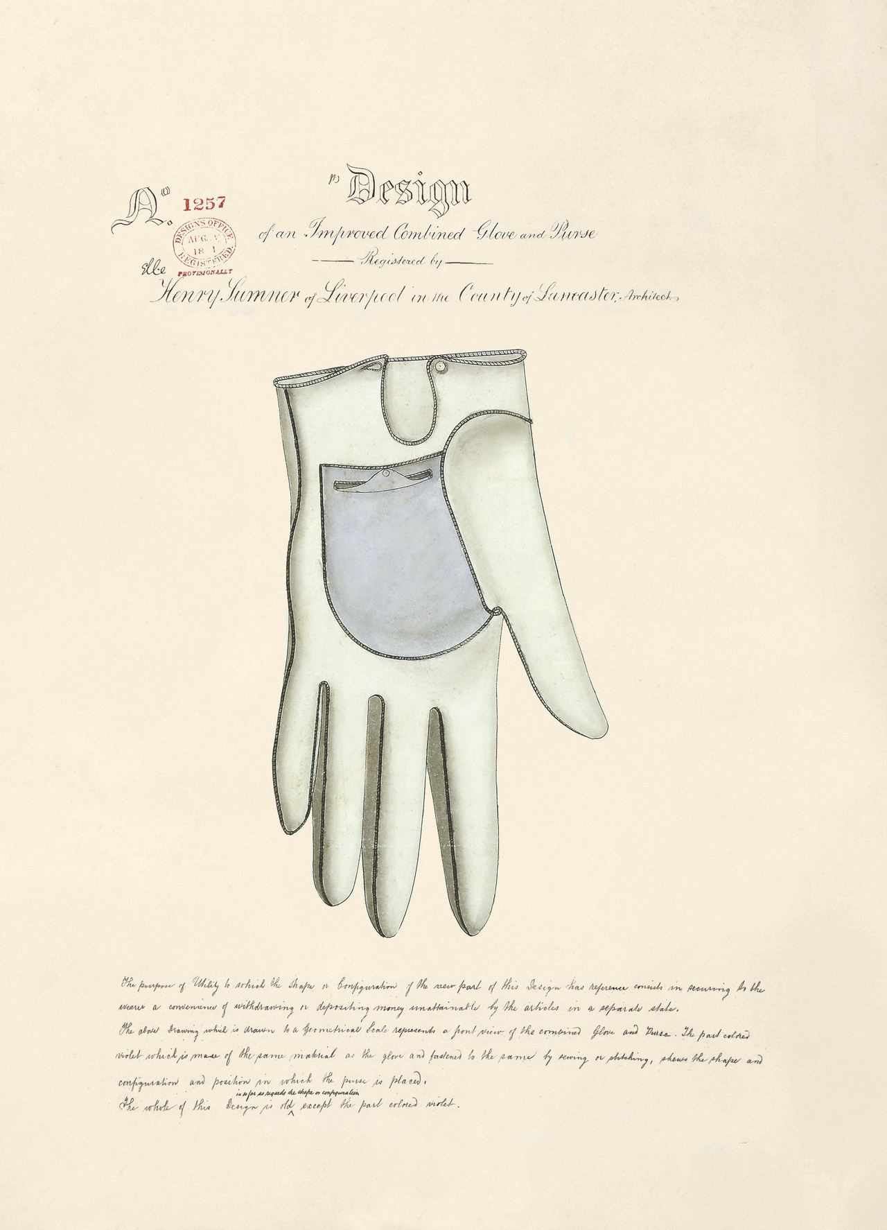 Design of an Improved Combined Glove and Purse by Henry Sumner, 1861 (BT 47/5) (The National Archives, London, England 2014. © 2014 Crown Copyright)