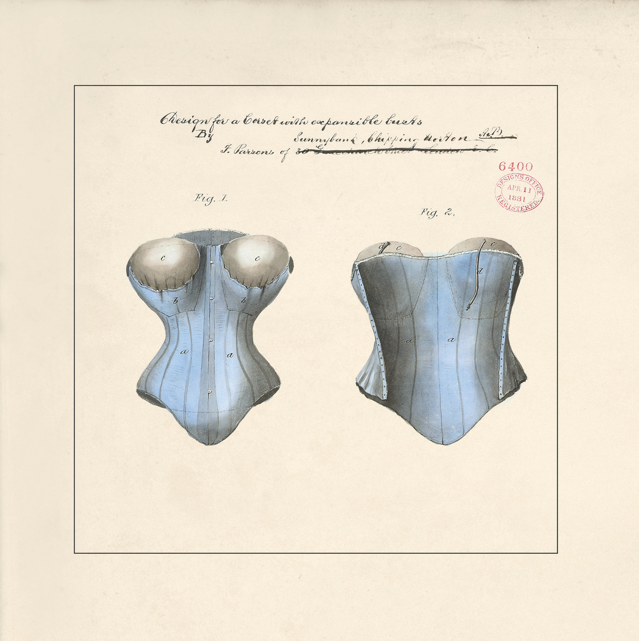 Design for a corset with expandable busts by F. Parsons, 1881 (BT 45/30) (The National Archives, London, England 2014. © 2014 Crown Copyright)