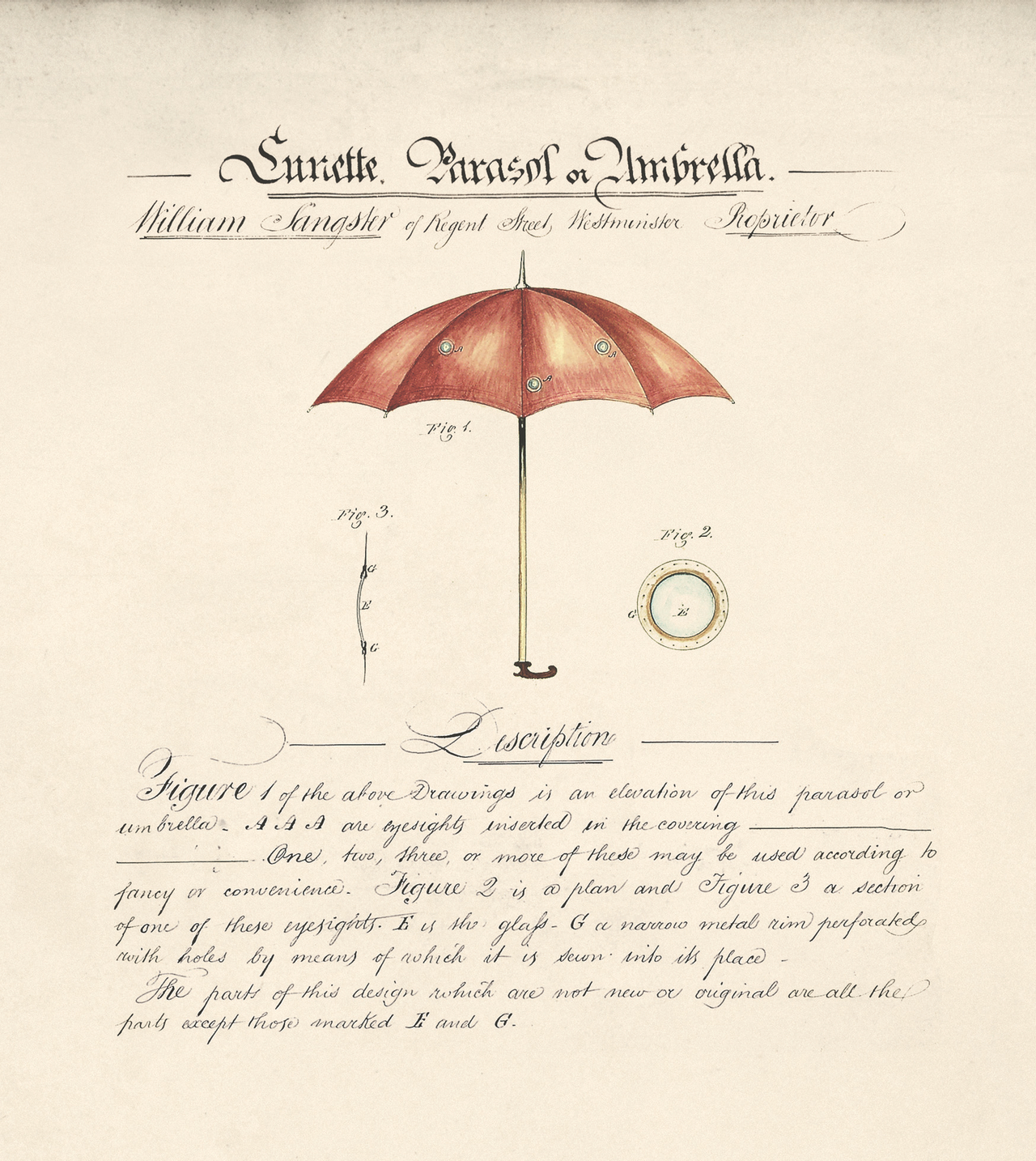 Lunette Parasol or Umbrella by William Sangster, 1844 (BT 45/1) (The National Archives, London, England 2014. © 2014 Crown Copyright)