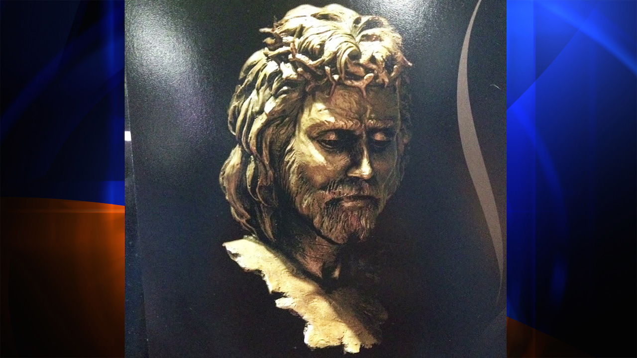 "An image of the stolen Thomas Kincade sculpture ""Prince of Peace"" (2007), which the late artist created in an edition of 30. (image courtesy WXIN)"
