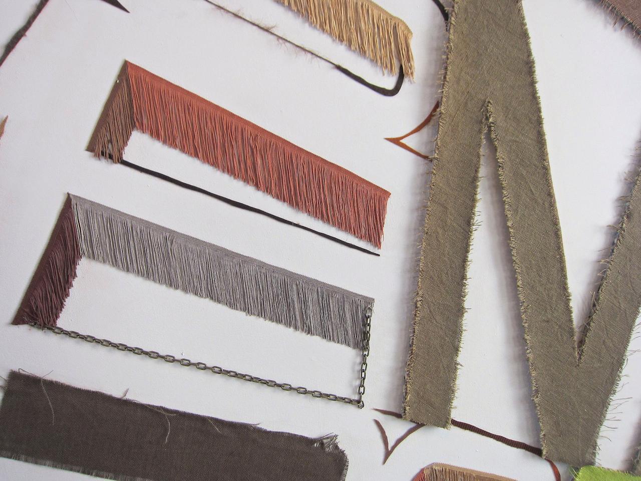 "Linda Herritt, ""Terra Infirma,"" (Installation Detail), 2014, Fabric, foam, tape, yarn, plastic, and wood, approx. 16 x 50 feet"