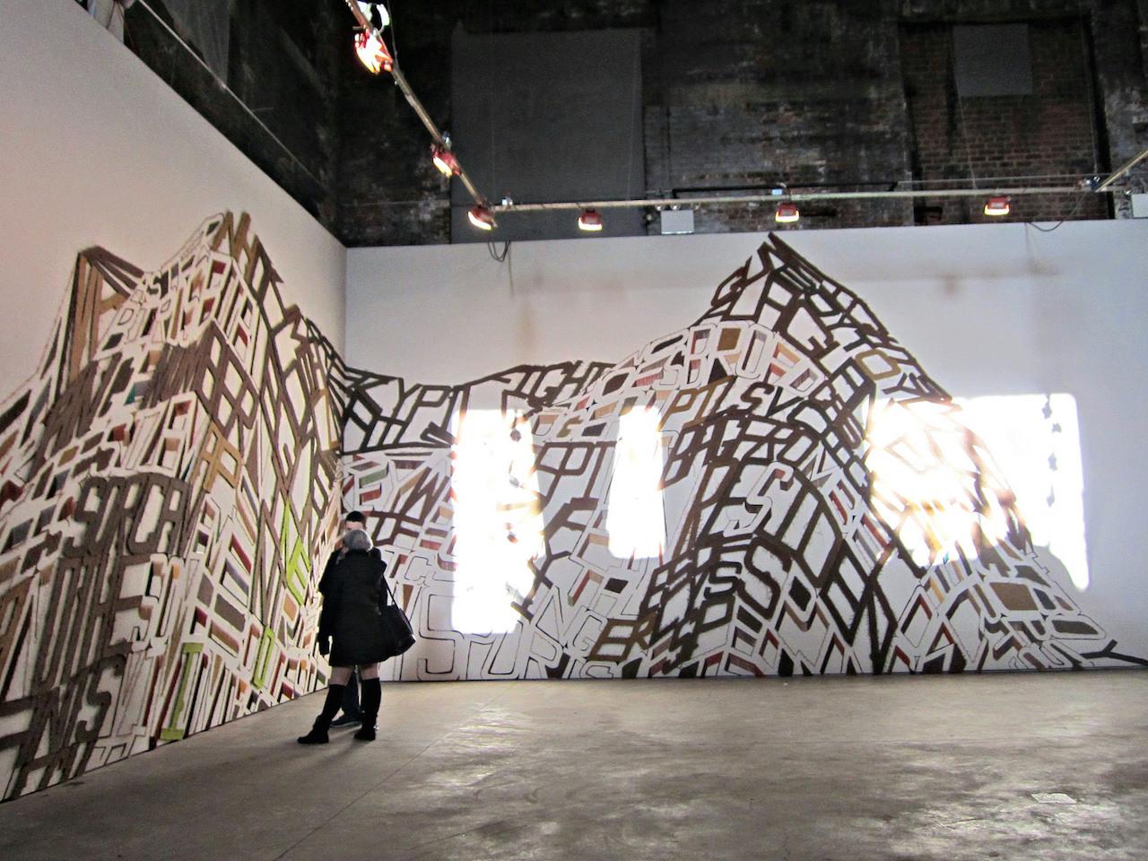 "Linda Herritt, ""Terra Infirma,"" 2014, Fabric, foam, tape, yarn, plastic, and wood, approx. 16 x 50 feet"