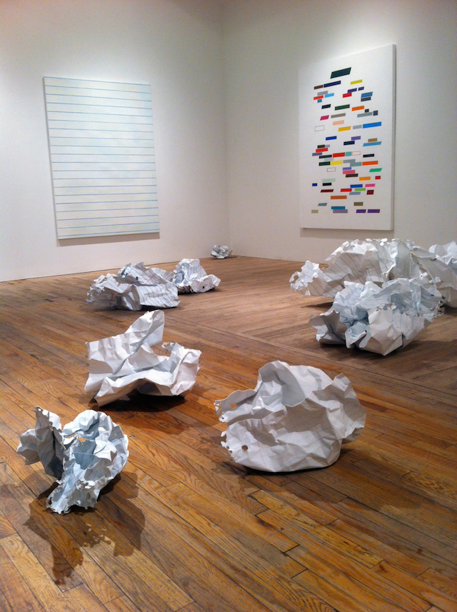 """Installation view, """"William Powhida: Overculture"""" at Postmasters Gallery."""
