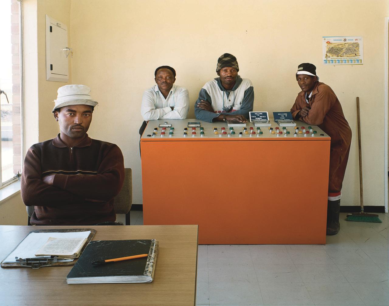 Seliane Vincent, Jonas Togo, Piet Jacobs, Albert Lekauta, operators of the sewage-treatment plant, Theunissen, Free State. 11 August 2004 ((c) 2014 David Goldblatt)