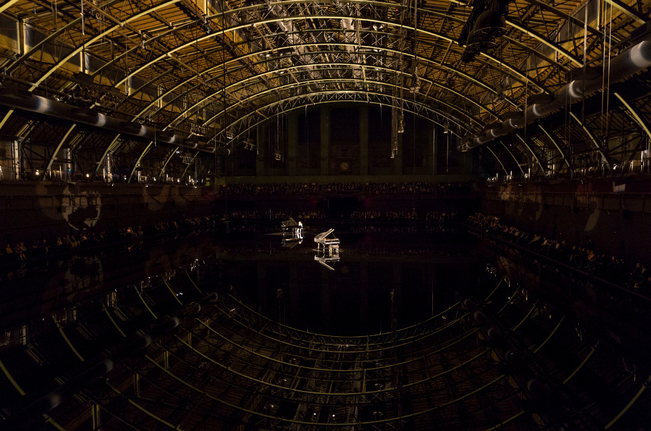 Pianist Hélène Grimaud performing at Douglas Gordon's 'tears become… streams become…' at the Park Avenue Armory (phtoograph by James Ewing, courtesy Park Avenue Armory)