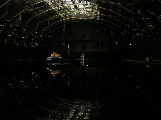 Installation view of Douglas Gordon's 'tears become... streams become...' at the Park Avenue Armory (photograph by the author for Hyperallergic)