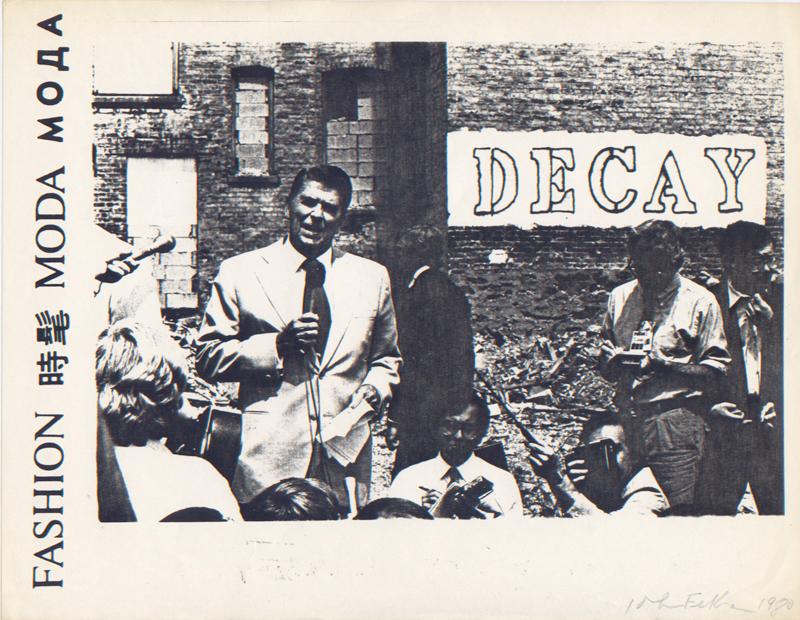 "John Feckner, ""Decay,"" Fashion Moda flyer, 1980 (via 98 Bowery)"