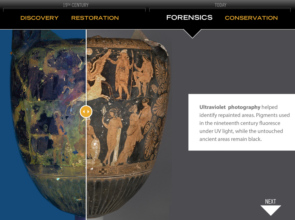 UV Light on the conserve Apulian vase (screenshot by the author from Getty Villa)