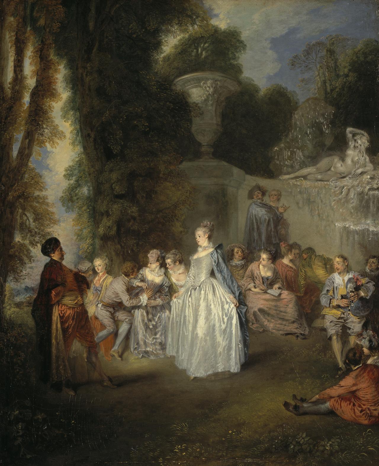 "Jean-Antoine Watteau, ""Fêtes Vénitiennes"" (1718–19), oil on canvas  (Scottish National Gallery, Edinburgh; © Trustees of the National Galleries of Scotland)"