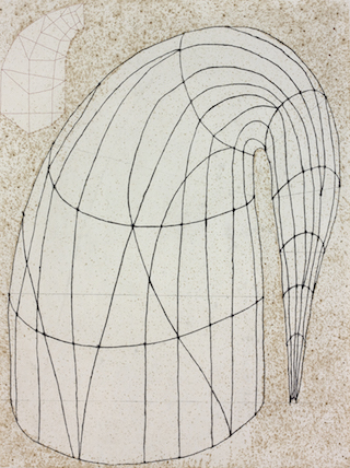 """Martin Puryear, """"Untitled (State 2)"""" (2014), color softground etching with drypoint and Chine collé on Somerset White paper, 35 x 28 inches"""
