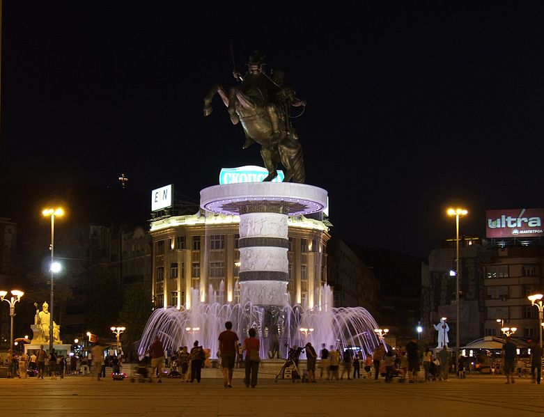 The new equestrian statue built as part of Skopje 2014 (photo by Pudelek/Wikimedia) (click to enlarge)