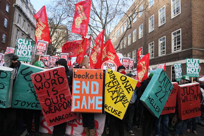 Book bloc, London, December 2010 (image courtesy Indymedia)