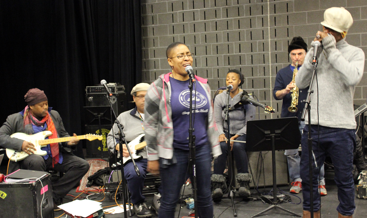 Members of Burnt Sugar the Arkestra Chamber in rehearsal for 'Brer Rabbit'; from left to right: Greg Tate, Andre Lassalle, Shelley Nicole, Mazz Swift, Avram Fefer, and Mikel Banks (photo by Aisha Cousins)