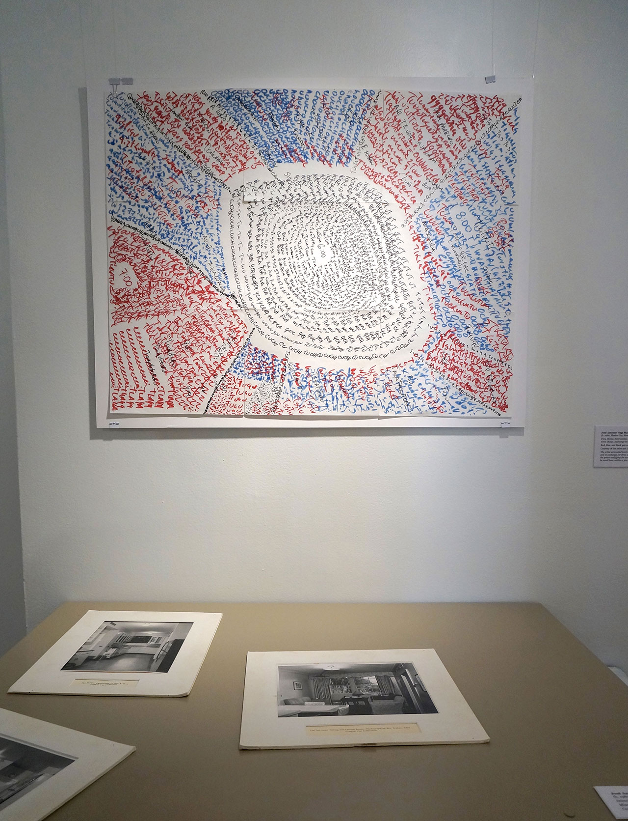 "José Antonio Vega Macotela, ""Time Divisa. Intercambio 66"" (2007), red, blue, and black pen on paper. ""The artist serenaded Ivan's mother at her home and in exchange, he drew an acoustic map of the prison codifying the environmental sounds he could hear within a 360 degree radius."" (click to enlarge)"