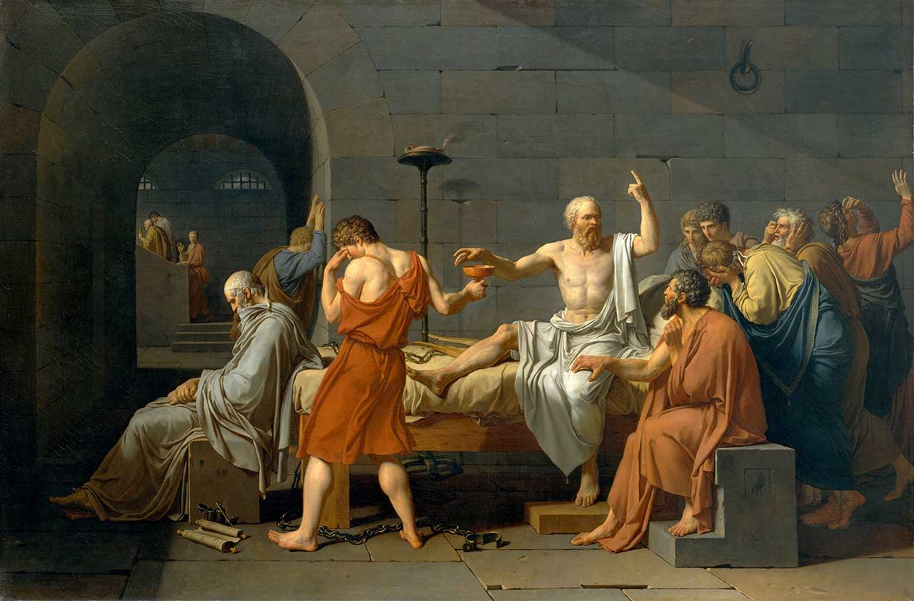 "Socrates, a male philosopher, surrounded by yet more male philosophers, in Jacques-Louis David's ""The Death of Socrates"" (1787) (via Wikipedia)"