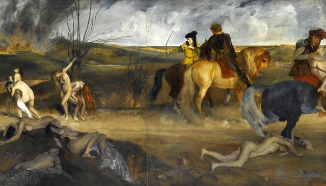 """Edgar Degas """"Scène de guerre au Moyen-âge"""" (1865), 83.5 x 148.5 cm Musée d'Orsay, Paris (image © RMN-Grand Palais, Musée d'Orsay / Gérard Blot)"""
