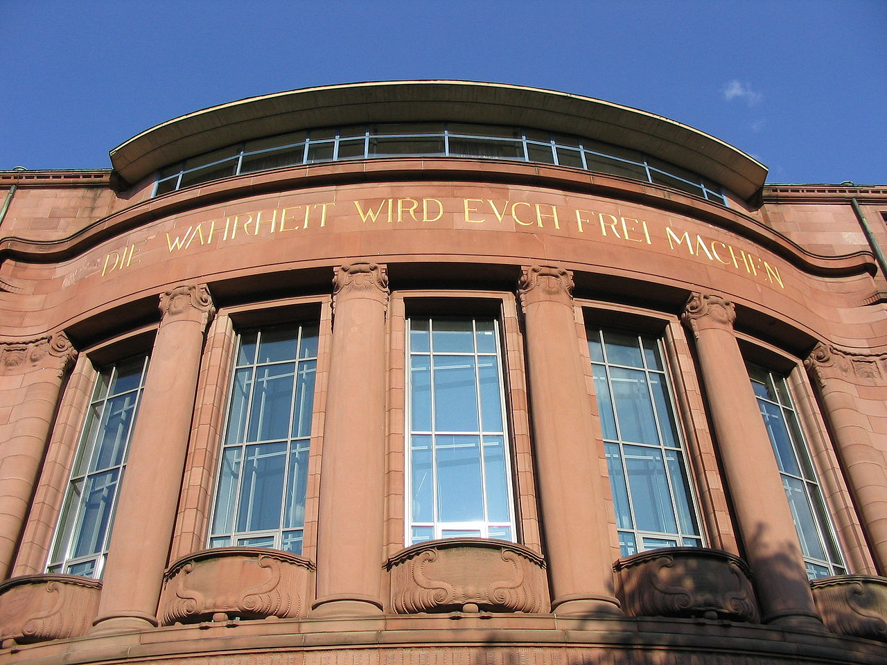 "Freiburg University's epitaph reads ""The truth shall set you free"""