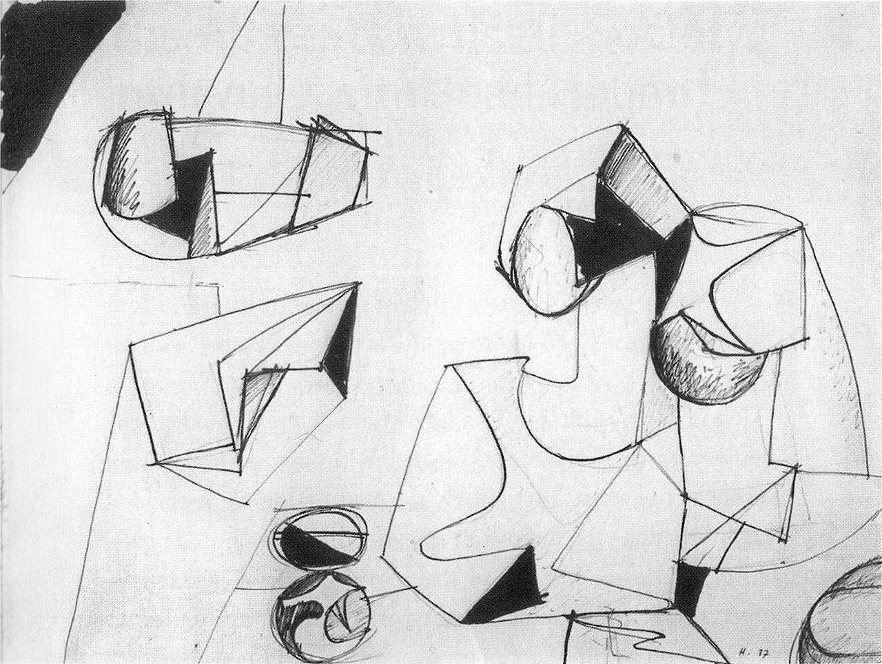 """Jean Hélion, """"Scattered Elements"""" (1937), ink on paper, 18 x 23 5/8 in (IMEC Archive), reproduced in black and white in 'Double Rhythm'"""