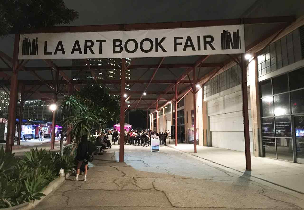 The entrance to the Geffen Contemporary during last night's opening of the LA Art Book Fair. (all photos by the author for Hyperallergic)