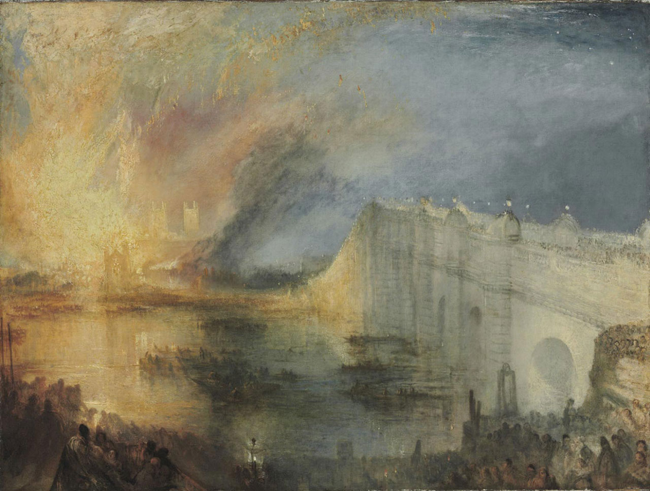 "JMW Turner, ""The Burning of the Houses of Lords and Commons, October 16, 1834"" (1834–35), oil on canvas, 36 1/4 x 48 1/2 in (92.1 x 123.2 cm) (via philamuseum.org)"