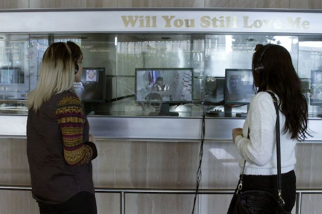 """Installation of Jennifer Moon's """"Will You Still Love Me: Learning to Love Yourself, It Is The Greatest Gift of All."""" Image courtesy of Dawn Light Blackman and Equitable Vitrines."""