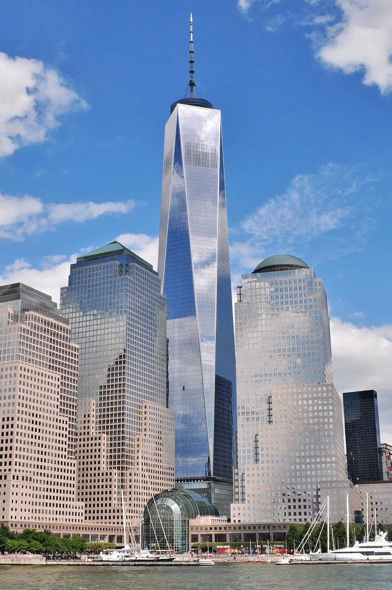 """One World Trade Center (also dubbed the """"Freedom Tower"""") was completed in 2014 and is the tallest skyscraper in the Western Hemisphere, and the fourth-tallest in the world. (via Wikipedia)"""