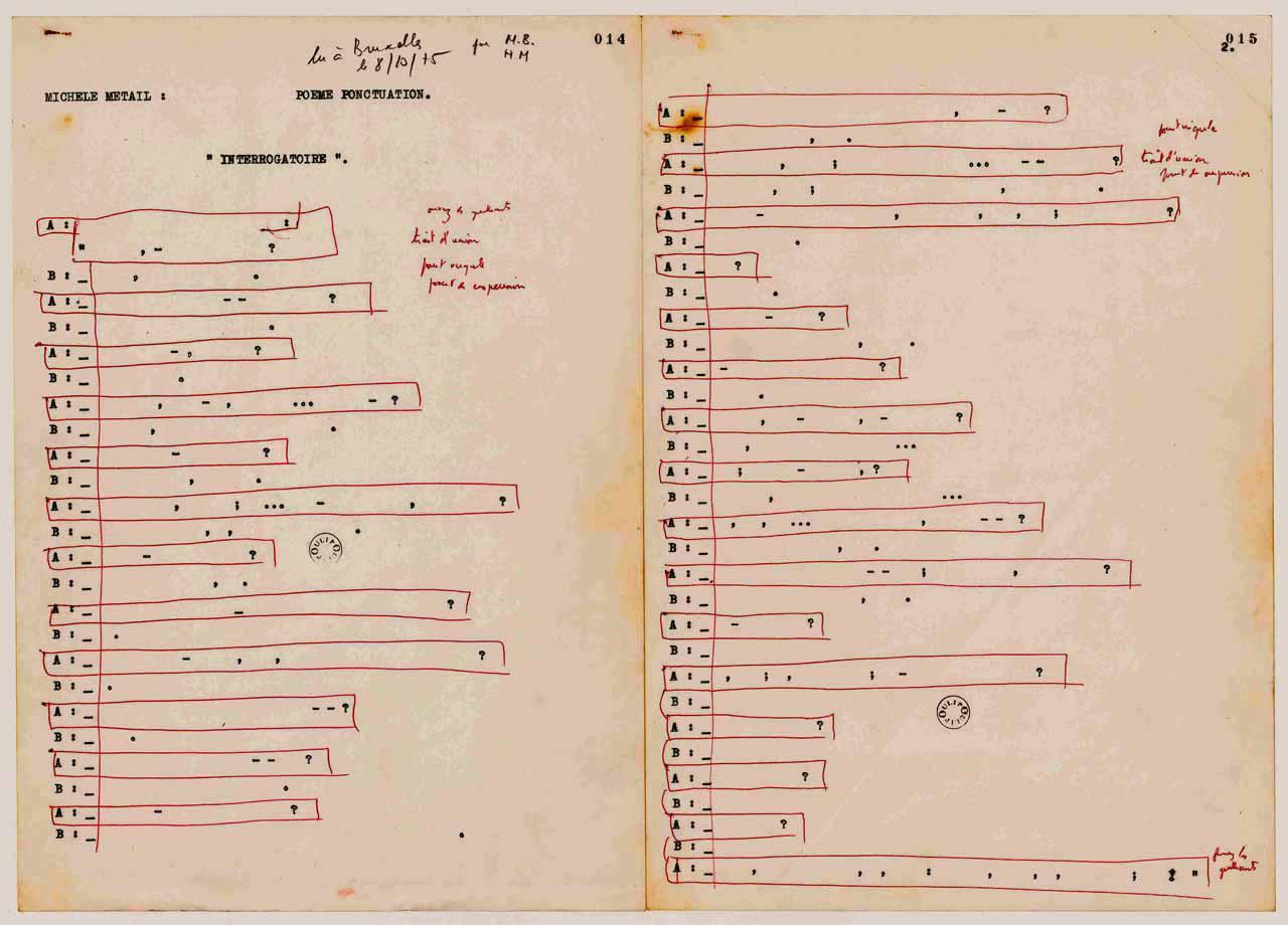 """Michèle Métail, """"Punctuation Poem"""" (October 1975) (© Michèle Métail Life)"""