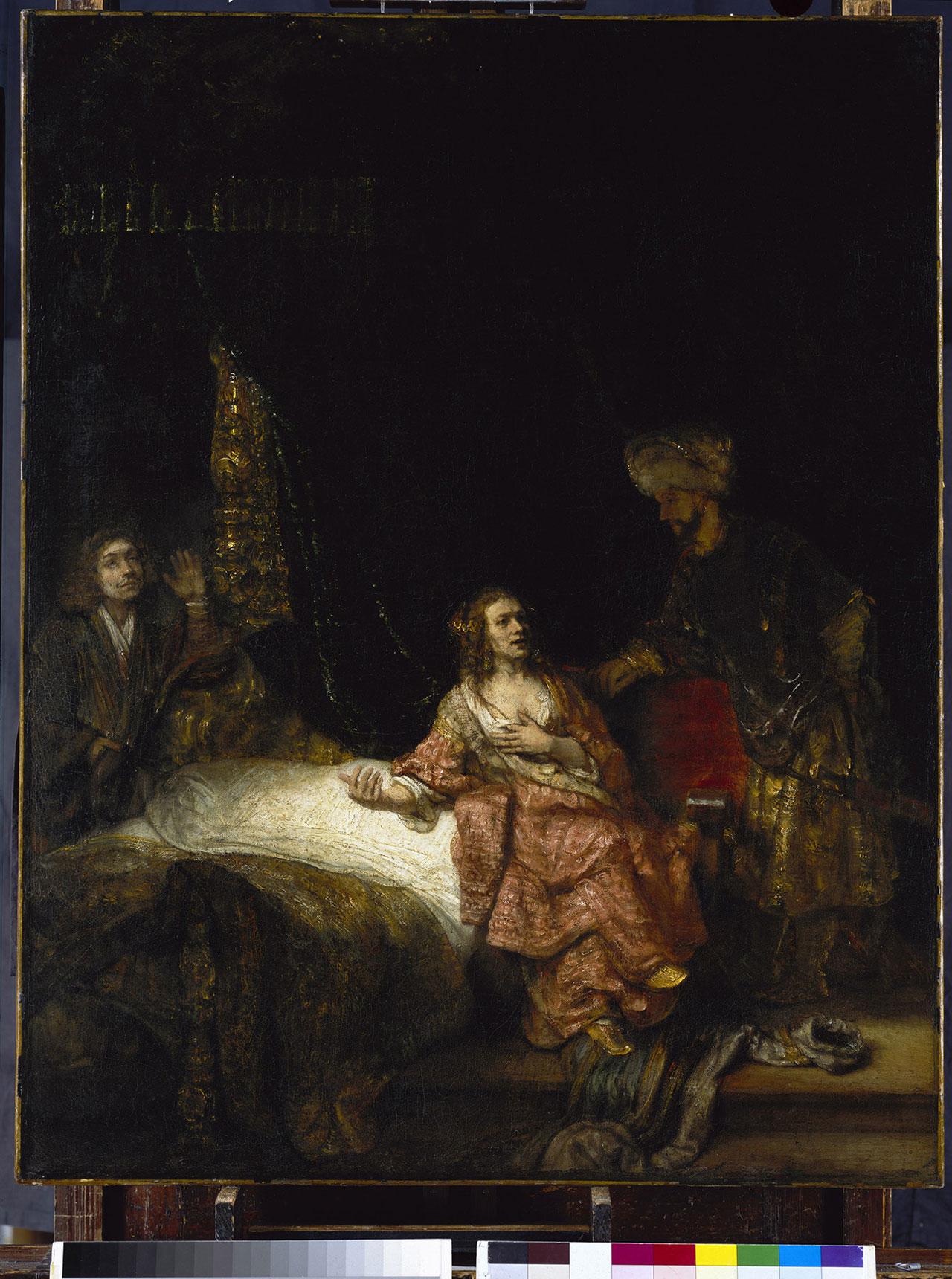 "Rembrandt, ""Joseph and Potiphar's Wife"" (1655), oil on canvas, 113.5 x 90 cm, Gemäldegalerie, Staatliche Museen zu Berlin-Preussischer Kulturbesitz (© Scala, Florence / Bildagentur für Kunst, Kultur und Geschichte, Berlin. Photo: Jörg Anders)"