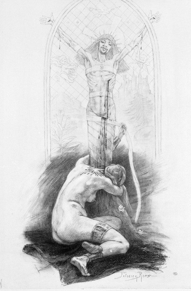 """Félicien Rops """"L'Amante du Christ"""" (1888), Musée d'Orsay, Paris (image © RMN-Grand Palais (musée d'Orsay) / Madeleine Coursaget)"""