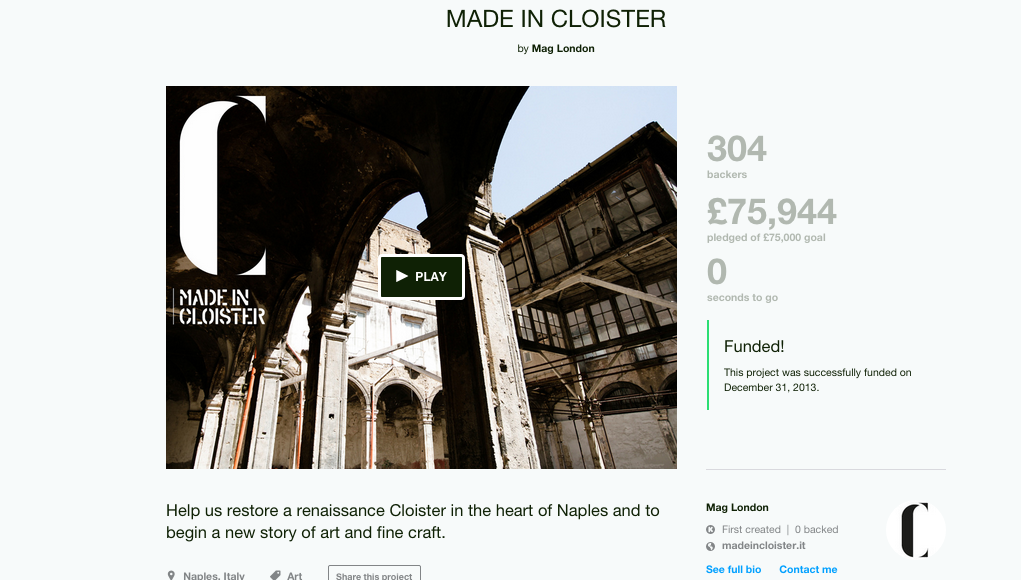 The Made in Cloister Kickstarter, via Kickstarter.
