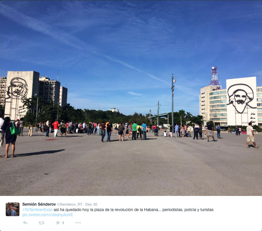 Havana's Plaza de la Revolución on the day of Bruguera's performance (photo by Semión Sénderov/Twitter)