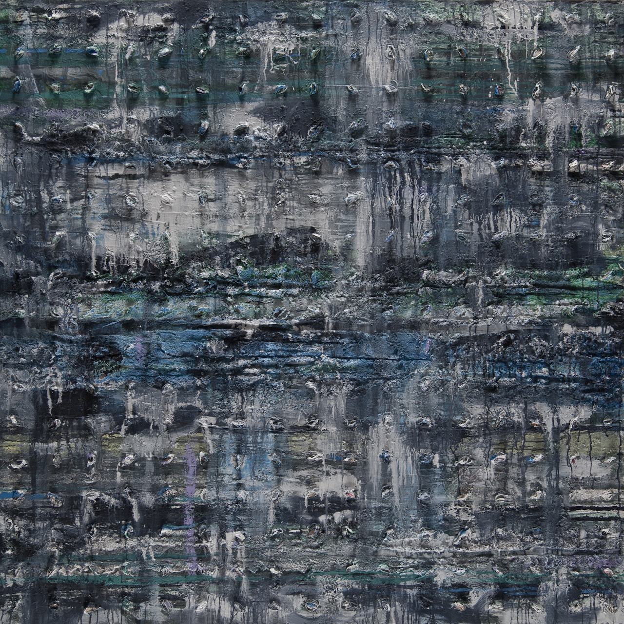 """Thaier Helal, """"Assi River"""" (2014), mixed media on canvas (courtesy the artist and Ayyam Gallery)"""