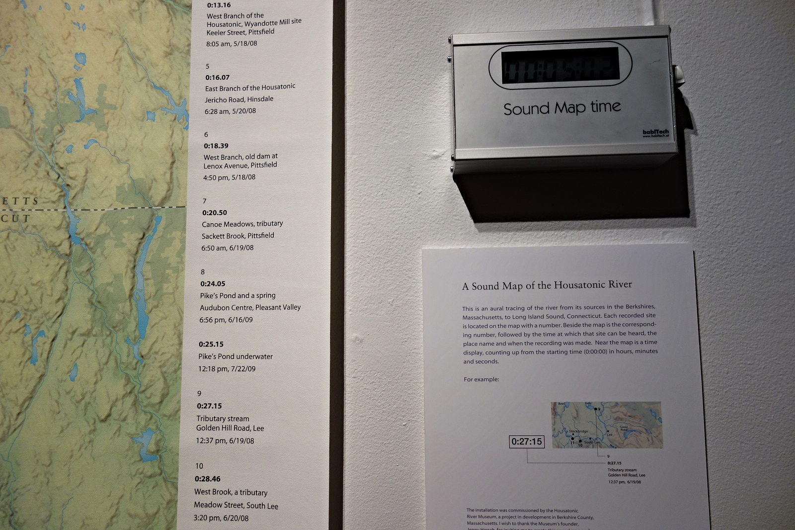 """Annea Lockwood, """"A Sound Map of the Housatonic River"""" (2010) (detail) (photograph by the author for Hyperallergic)"""