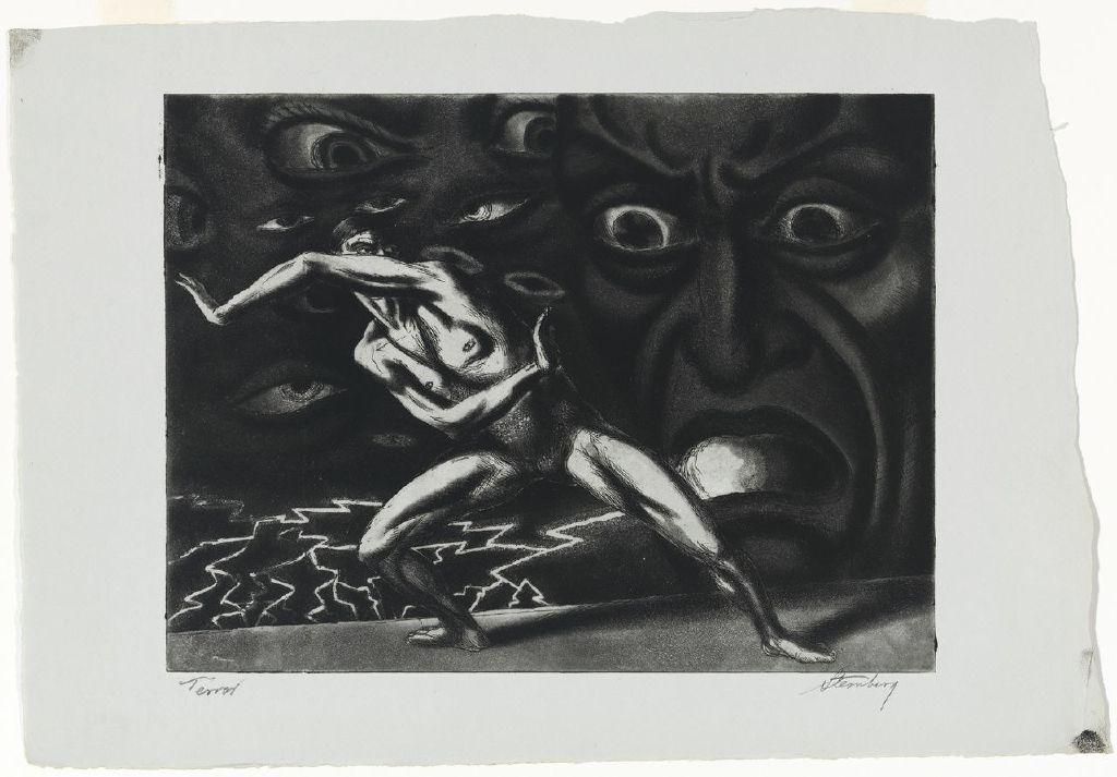"Harry Sternberg, ""Terror"" (1935), courtesy of Mary and Leigh Block Museum of Art, Northwestern University"