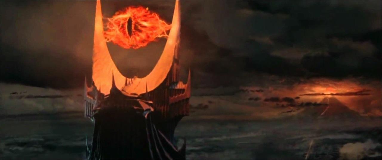 The Eye of Sauron atop Barad-dûr (via youtube.com)