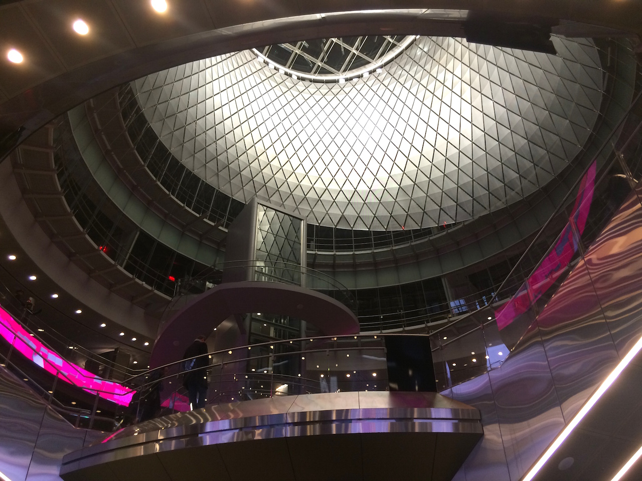 Inside the Fulton Center, looking up at the oculus (all photos by the author for Hyperallergic)