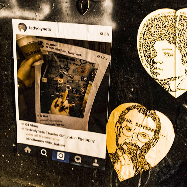 A photo by @tedvolynets pasted at the corner of Howard and Crosby streets