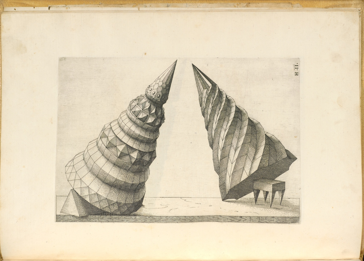 Title: Perspectiva corporum regularium, anno MDLXVIII [1568] Author: Wenzel Jamnitzer Contributors: Jost Amman, 1539-1591, etcher Christoph Heussler, active 1556-1578, printer All images courtesy of The Getty Research Institute Digital Collections