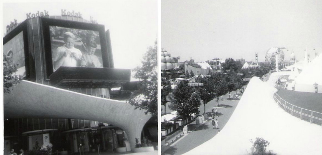 The Kodak pavilion at the 1964 World's Fair, and a view from the top (photographs by Doug Coldwell, via Wikimedia)