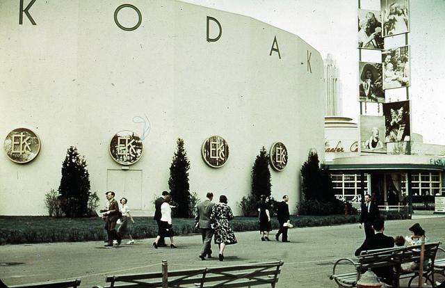 The 1939 World's Fair Kodak pavilion, note the photos at right (photograph by Richard, via Flickr)