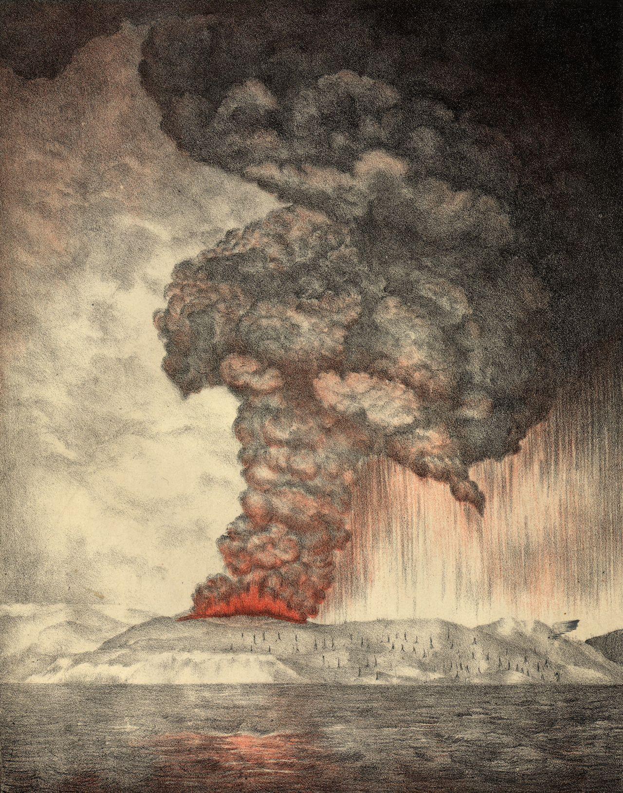 An 1888 lithograph of the 1883 eruption of Krakatoa (Parker & Coward, Britain, via Wikimedia)