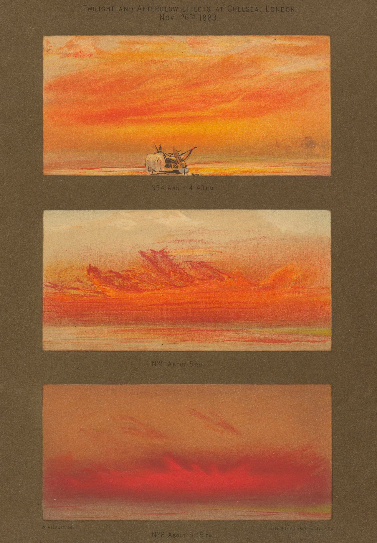 """Illustrations by William Ascroft from """"The eruption of Krakatoa, and subsequent phenomena"""" (1888) (via Houghton Library at Harvard University)"""