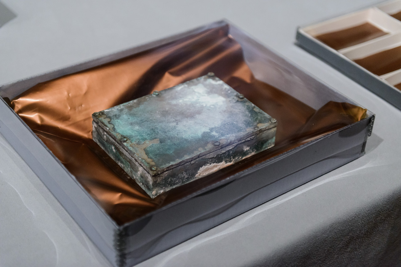 A time capsule found in the cornerstone of the Massachusetts State House building prior to opening. January 6, 2015  (Photo courtesy of Museum of Fine Arts, Boston)