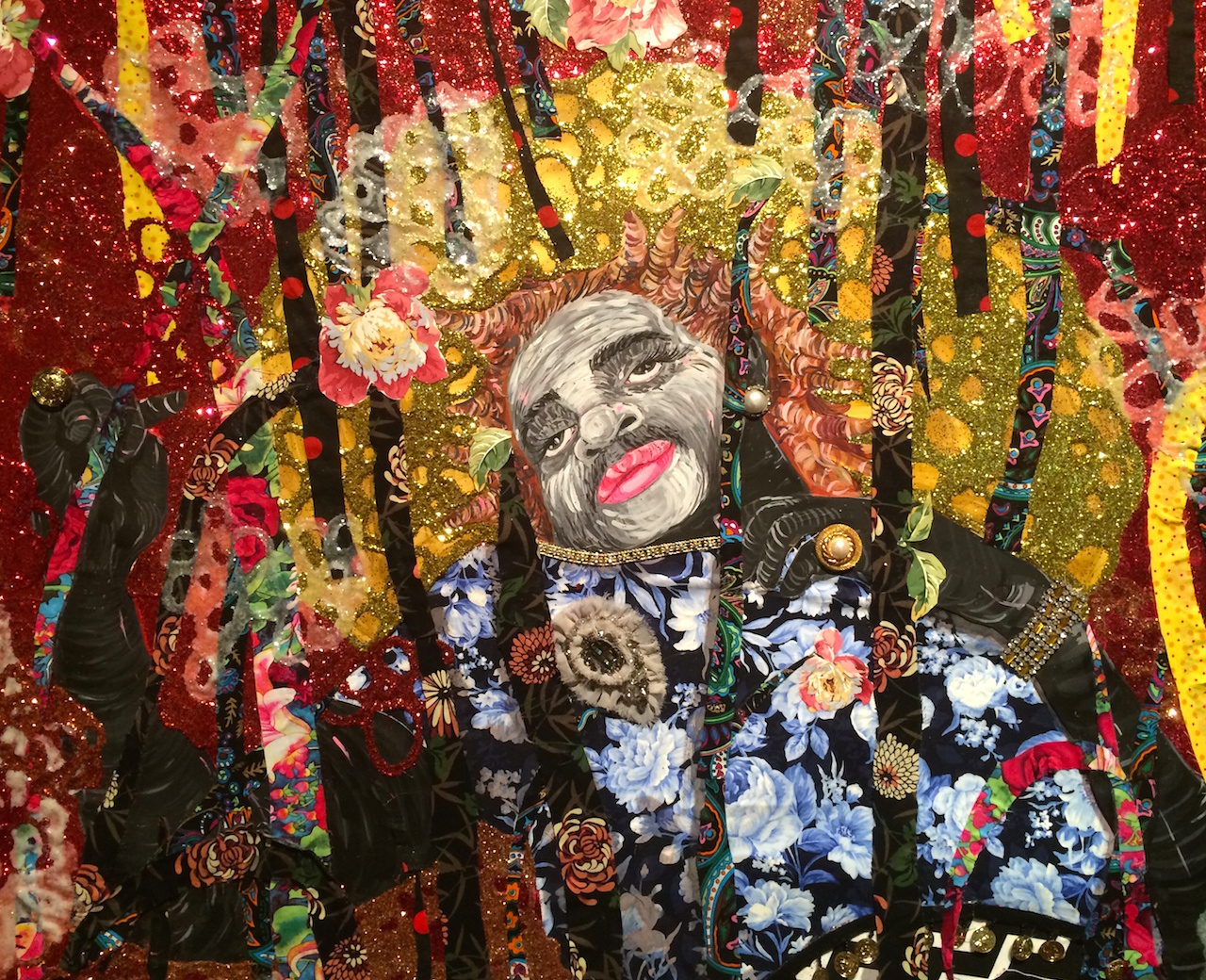 """Detail of Ebony G. Patterson, """"... and then — beyond the bladez"""" (2014)"""