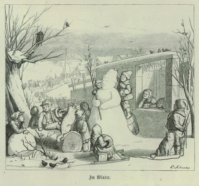 "Eduard Schulz, ""Im Winter"" from 'The world in miniature: twelve pictures of the children's lives' (1867) (via Wikimedia Commons)"