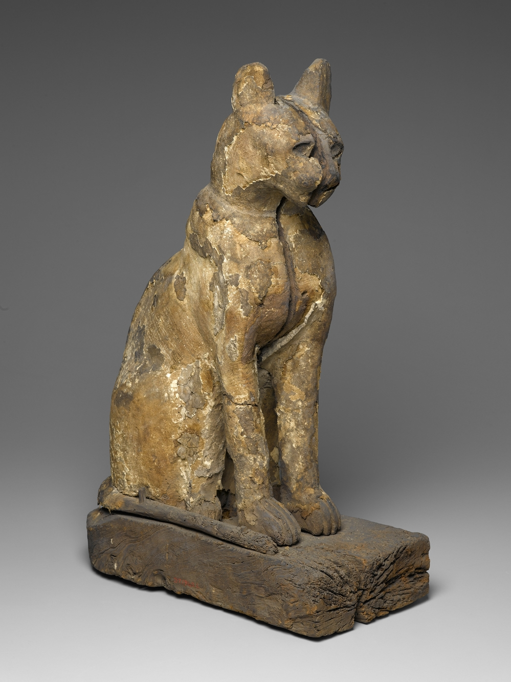 Cat Coffin with Mummy. From Egypt. Late Period, 664-332 B.C.E. Wood, gesso, linen, 21 1/4 x 7 1/16 x 14 3/16 in. (54 x 18 x 36.1 cm). Brooklyn Museum; Charles Edwin Wilbour Fund, 37.1942E