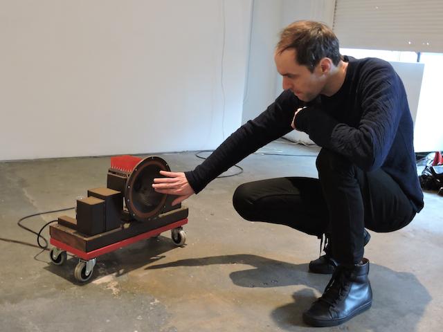 "Daniel Neumann and Juan Betancurth ""Tube Amp"" (2014) (Daniel Neumann pictured with piece) (photo by author)"
