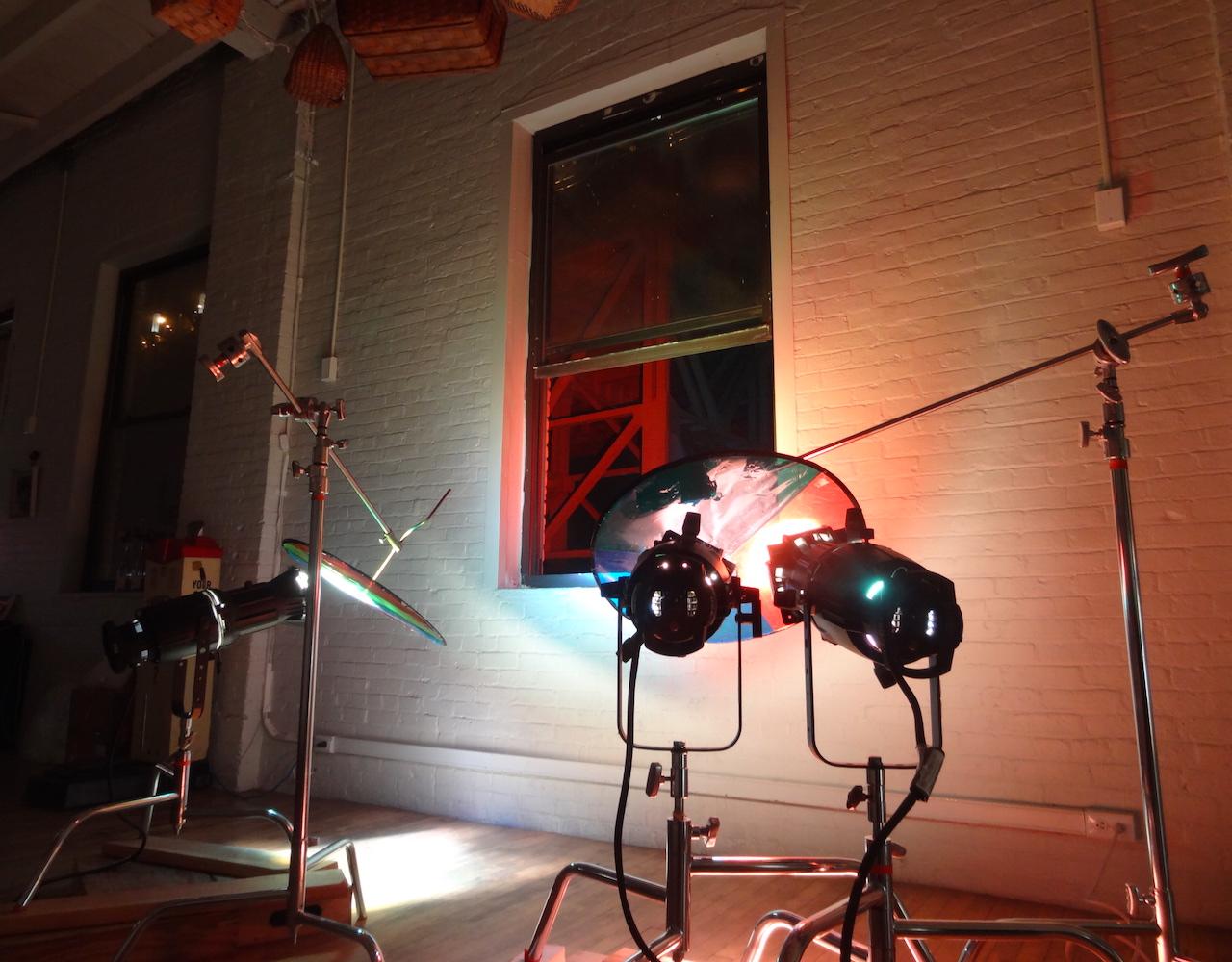 "A view of one of the ""Spectrum II"" lighting rigs inside Gowanus Loft"