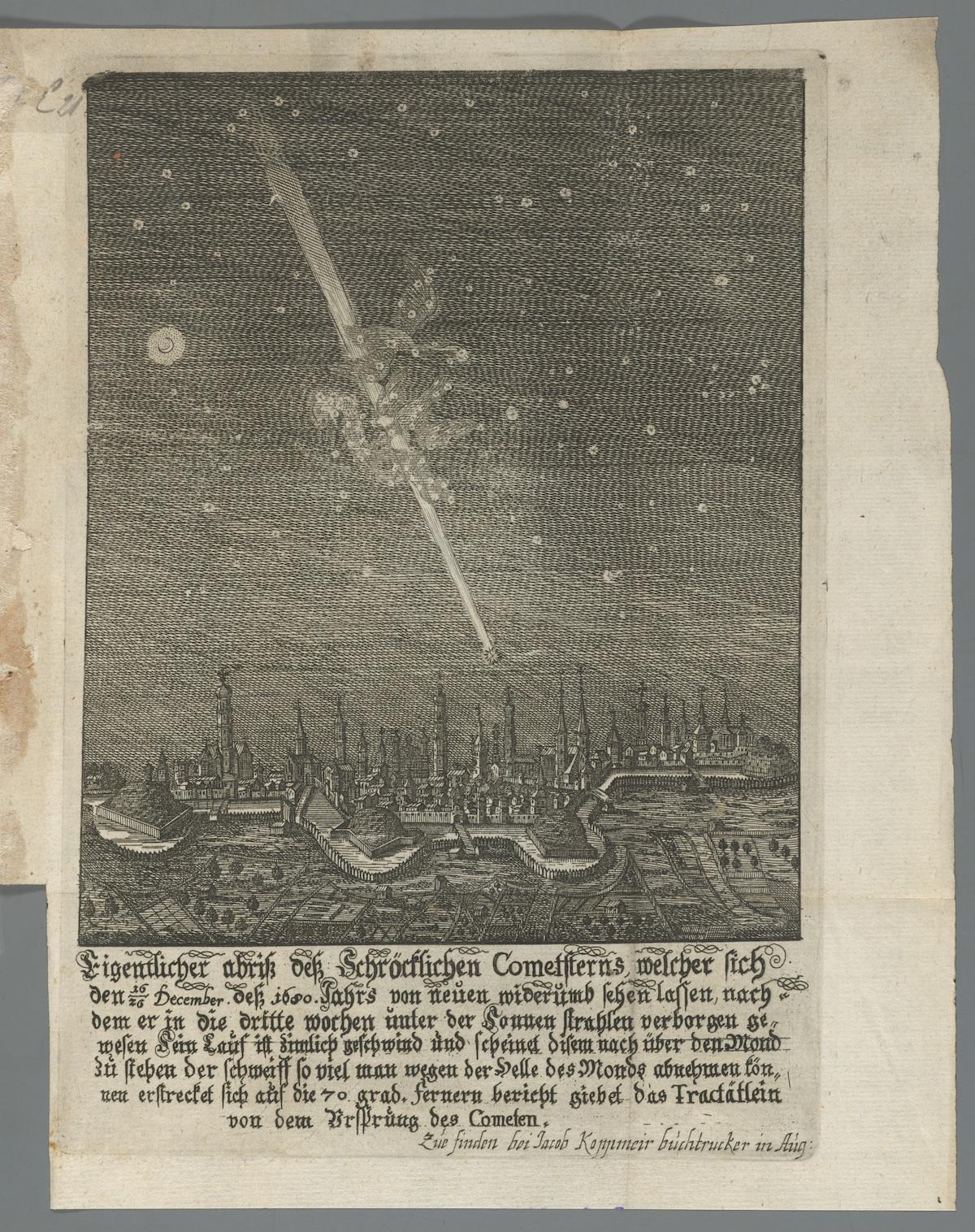 Wagner, Johann Christoph. Cometa disparens, das ist, Gründlicher Bericht von dem fernern Lauff dess Komet-Sterns, biss zu dessen völliger Verlöschung, 1681. *GC6.W1258.681c (B). Houghton Library, Harvard University.